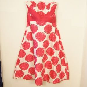 Donna Morgan Strapless Pink & White Pinup Dress  8